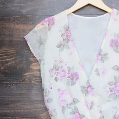Lioness ruffle hem floral print romper in lilac + ivory - shophearts - 3