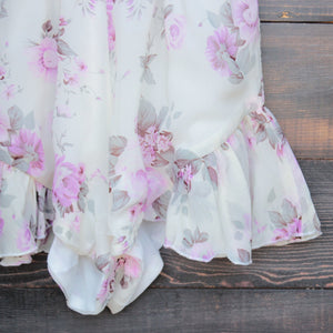 Lioness ruffle hem floral print romper in lilac + ivory - shophearts - 4
