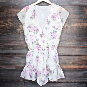 Lioness ruffle hem floral print romper in lilac + ivory - shophearts - 1