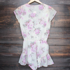 Lioness ruffle hem floral print romper in lilac + ivory - shophearts - 2
