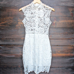 Lioness wedding bells sleeveless lace bodycon dress in white - shophearts - 1