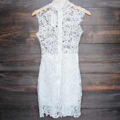 Lioness wedding bells sleeveless lace bodycon dress in white - shophearts - 2