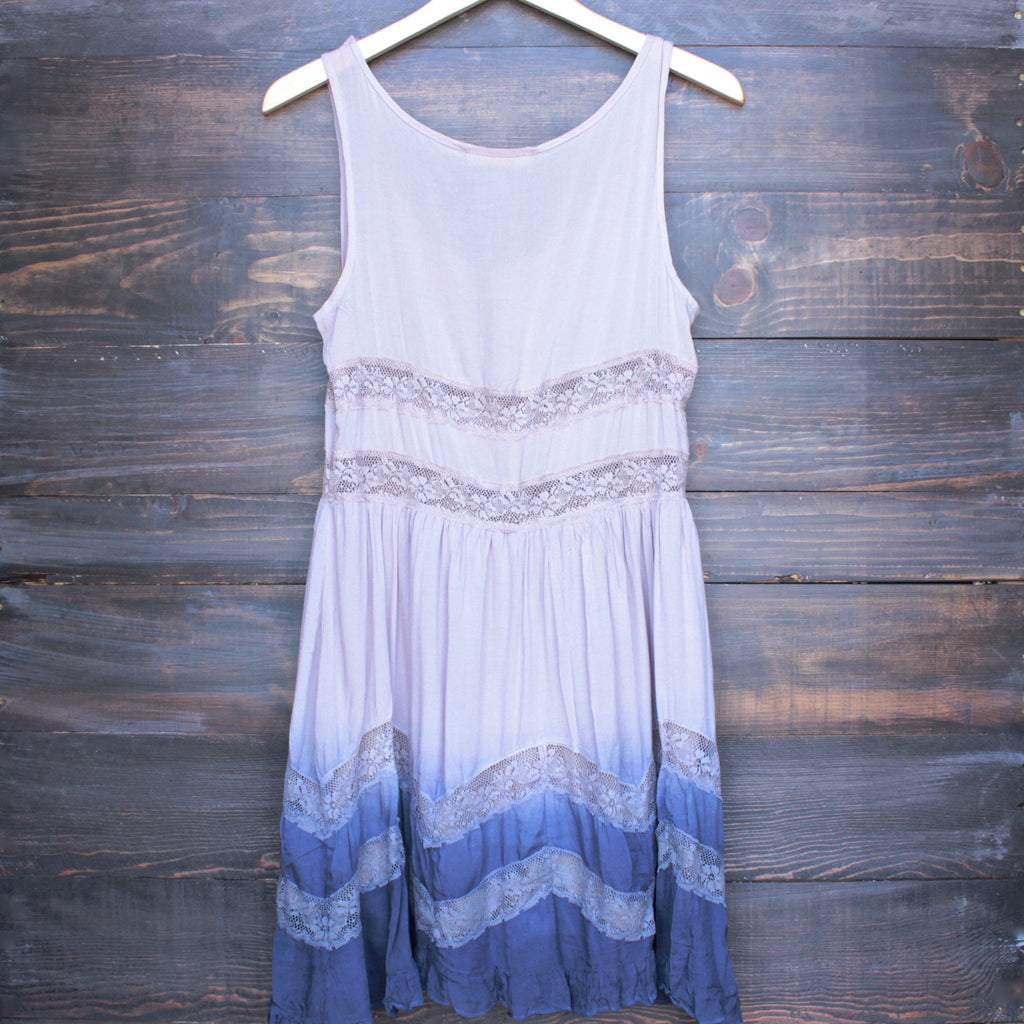 dip dye boho lace trim trapeze slip dress in mocha and navy - shophearts - 2