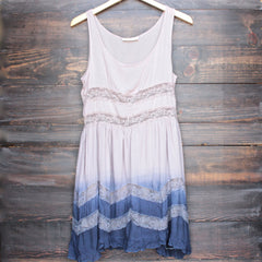 dip dye boho lace trim trapeze slip dress in mocha and navy - shophearts - 1