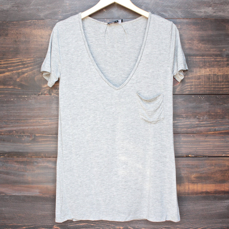 tease me oversize soft v neck tshirt in grey - shophearts - 1