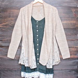 womens open front lighweight knit cardigan with lace hem in beige - shophearts - 1