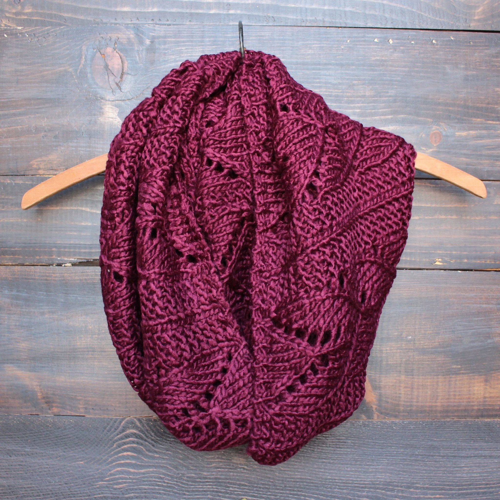 knit leaf pattern infinity scarf (more colors) - shophearts - 1