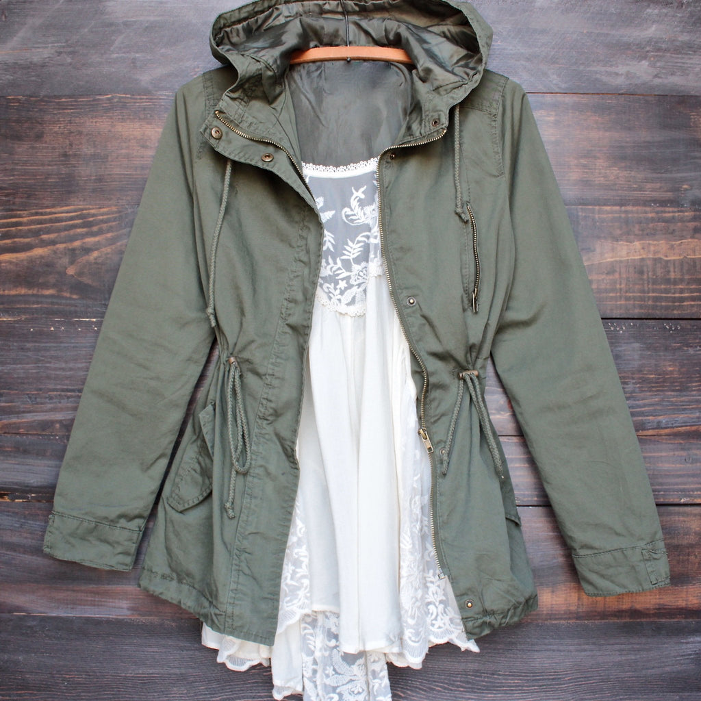 Womens hooded utility parka jacket with drawstring waist in olive green, ladies parka jackets