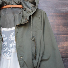 Womens hooded utility parka jacket with drawstring waist in olive green - shophearts - 3