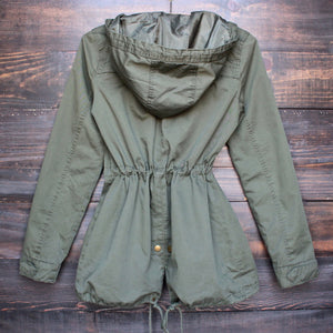 Womens hooded utility parka jacket with drawstring waist in olive green - shophearts - 2