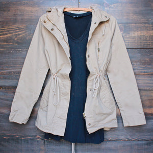 womens hooded utility parka jacket with drawstring waist in khaki - shophearts - 1