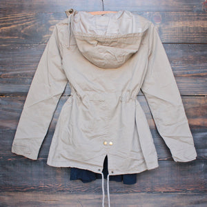 womens hooded utility parka jacket with drawstring waist in khaki - shophearts - 2