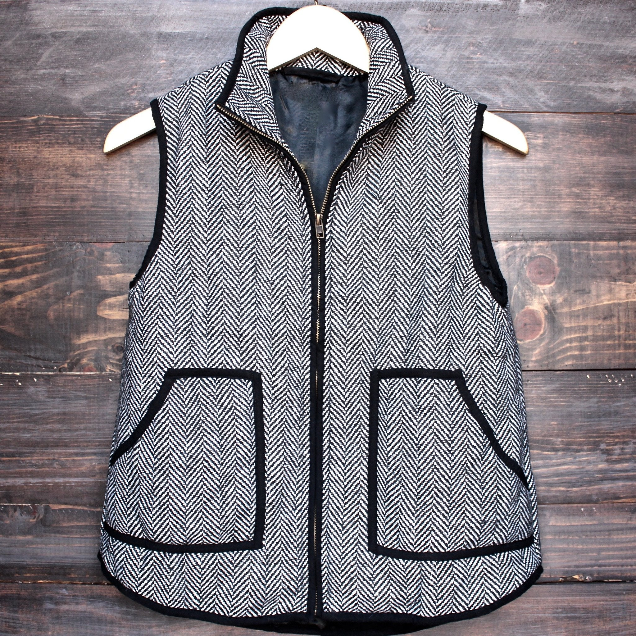 herringbone quilted puffer vest - shophearts - 1