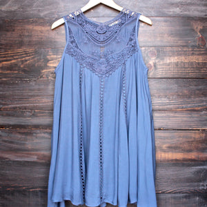 slate blue boho crochet lace dress - shophearts - 1