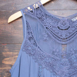 slate blue boho crochet lace dress - shophearts - 3