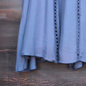 slate blue boho crochet lace dress - shophearts - 4