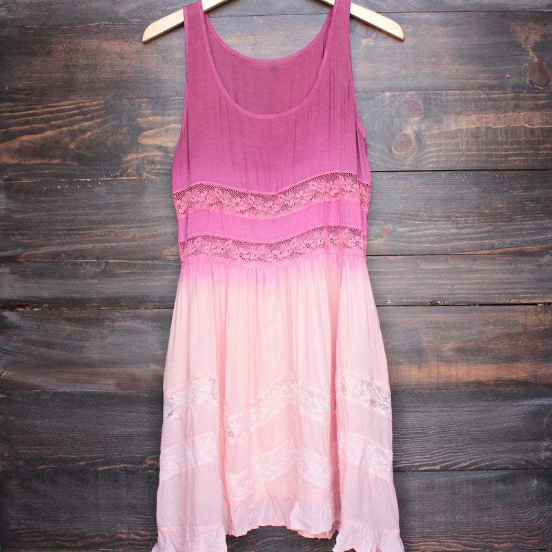 dip dye boho lace trim trapeze slip dress in pink - shophearts - 1