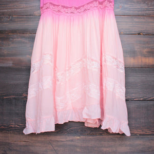 dip dye boho lace trim trapeze slip dress in pink - shophearts - 3