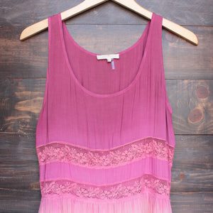 dip dye boho lace trim trapeze slip dress in pink - shophearts - 4