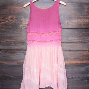dip dye boho lace trim trapeze slip dress in pink - shophearts - 2