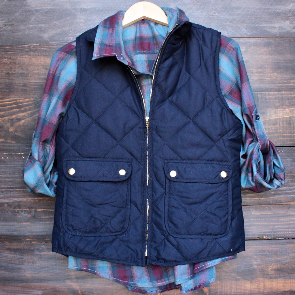city strut quilted puffer vest - navy - shophearts - 1