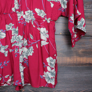 his girl floral romper in burgundy - shophearts - 4