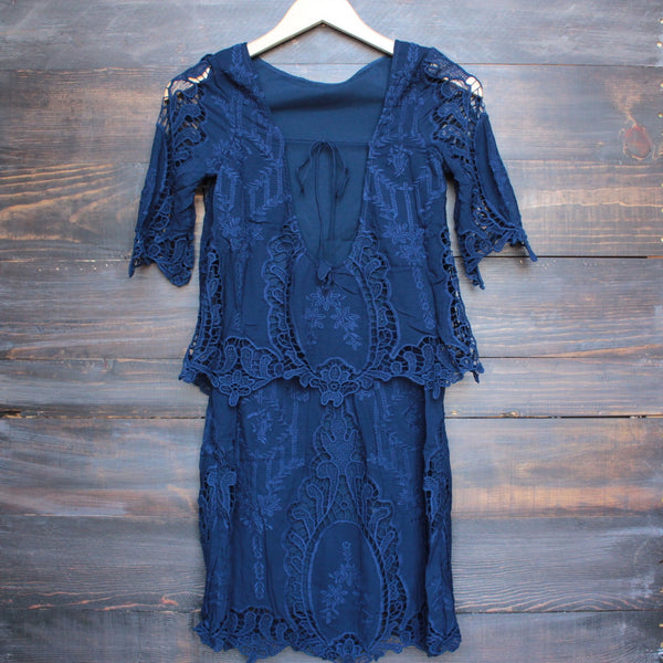 cara backless vintage inspired navy dress by SAYLOR - shophearts - 2
