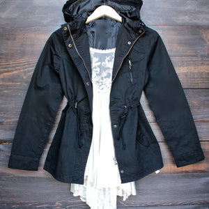 womens hooded utility parka jacket with drawstring waist in black - shophearts - 1