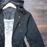 womens hooded utility parka jacket with drawstring waist in black - shophearts - 3