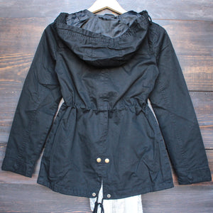 womens hooded utility parka jacket with drawstring waist in black - shophearts - 2