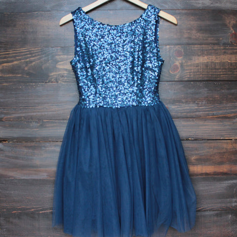 sugar plum dazzling navy sequin tulle darling party dress - shophearts - 1