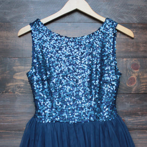 sugar plum dazzling navy sequin tulle darling party dress - shophearts - 3