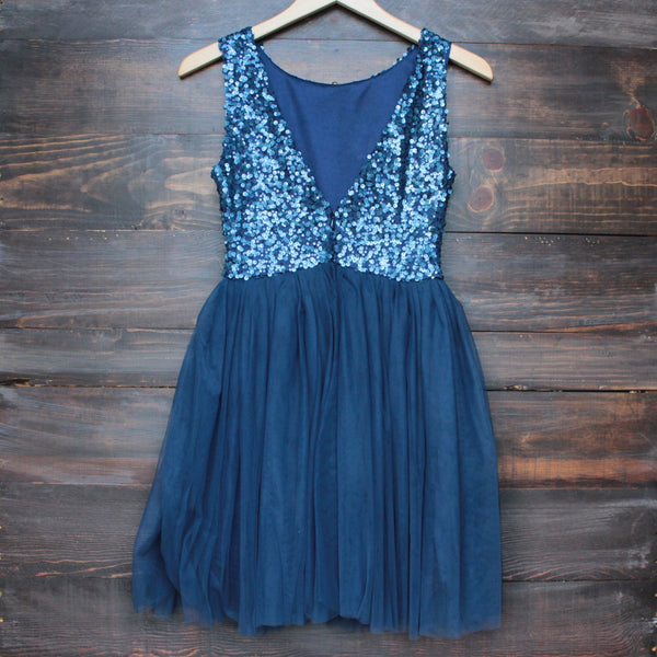 sugar plum dazzling navy sequin tulle darling party dress - shophearts - 2