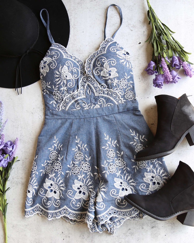 night rider embroidered romper - denim - shophearts - 6
