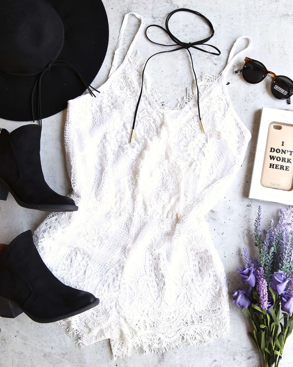 Final Sale - Bat Your Lashes Boho Romper in Ivory