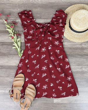 Off The Shoulder Sweetheart Front Tie Fit and Flare Mini Dress - Floral Burgundy