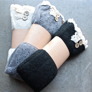 knee high vintage style boot socks with buttons + lace (3 colors) - shophearts - 1