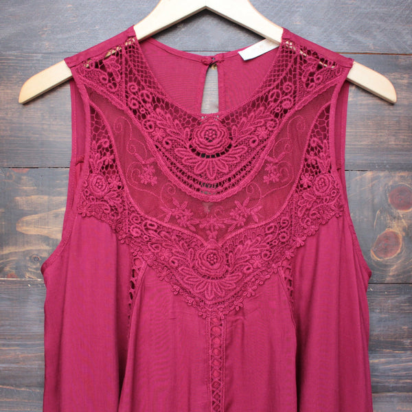 burgundy boho crochet lace dress - shophearts - 3