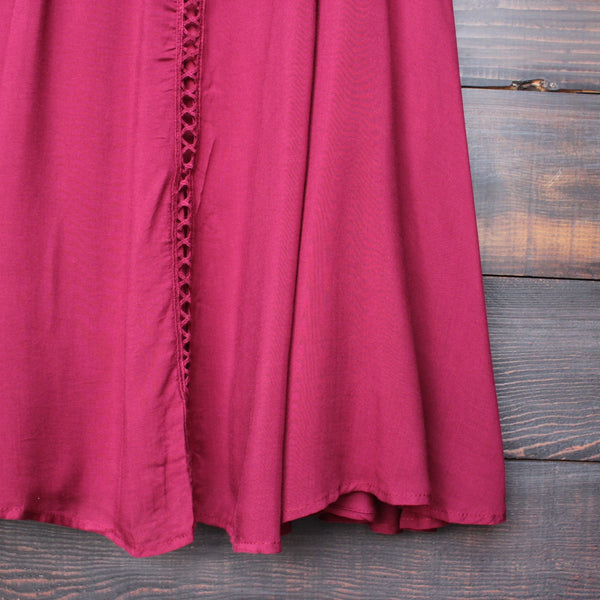burgundy boho crochet lace dress - shophearts - 4
