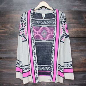 mod lightweight tribal cardigan in aztec pink - shophearts - 2