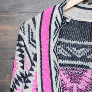 mod lightweight tribal cardigan in aztec pink - shophearts - 5