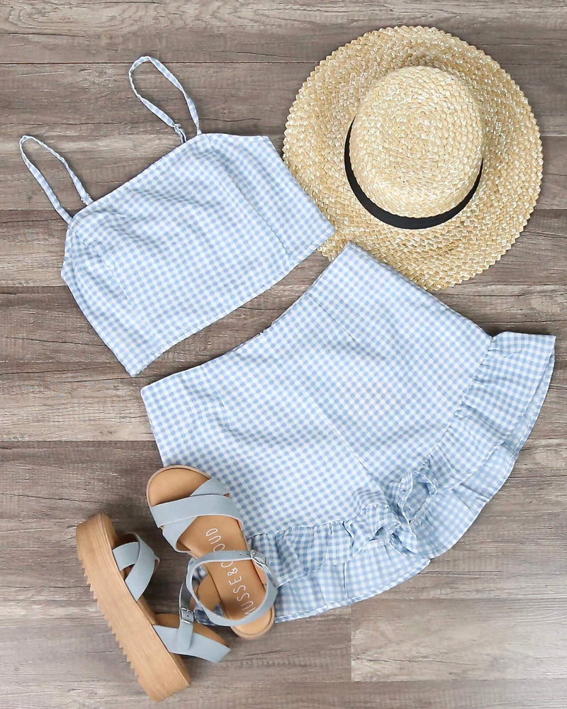 Final Sale - MINKPINK - Toto Gingham Chambray Top and Shorts Separates in Chambray & White