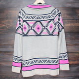 mod lightweight tribal cardigan in aztec pink - shophearts - 4
