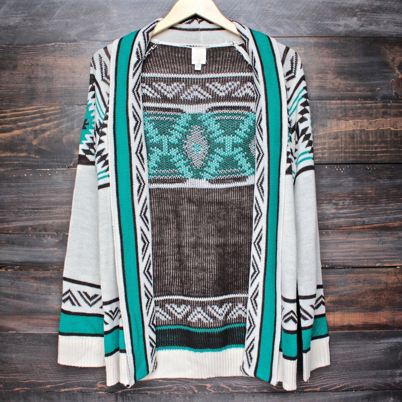 mod lightweight tribal cardigan aztec in jade - shophearts - 1