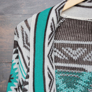 mod lightweight tribal cardigan aztec in jade - shophearts - 3