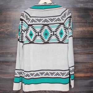 mod lightweight tribal cardigan aztec in jade - shophearts - 2