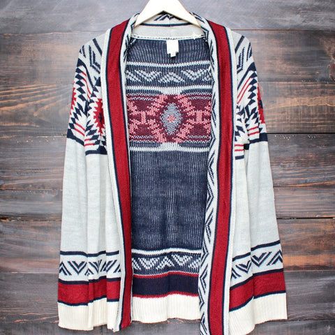 mod lightweight tribal cardigan aztec in rust - shophearts - 1