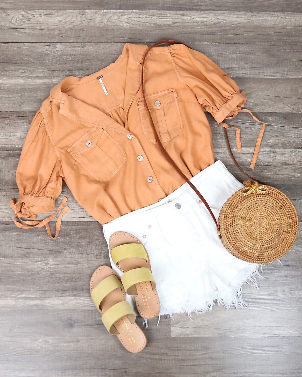 Free People - Safari Babe Woven Top in Peach