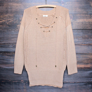 lace-up knit sweater in tan - shophearts - 1