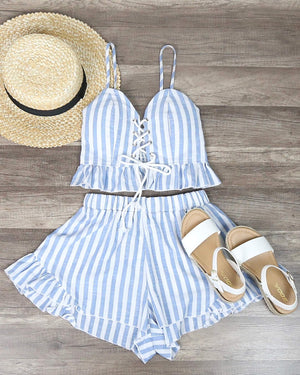 Final Sale - Reverse - Striped Denim Blue & White Two Piece Set